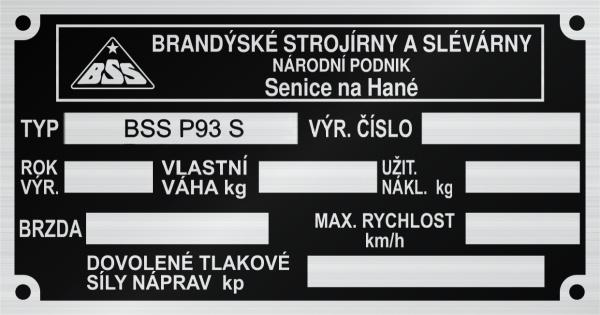 BSS P93 S Brandýské strojírny a slévarny Senice nad Hané