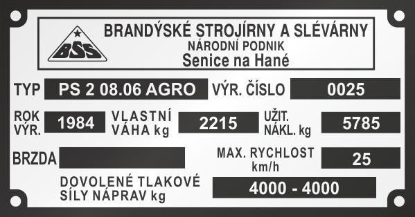 BSS PS2 Výrobný štítok, Brandýské strojírny a slévarny Senice nad Hané