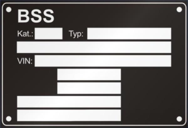 BSS výrobný štítok