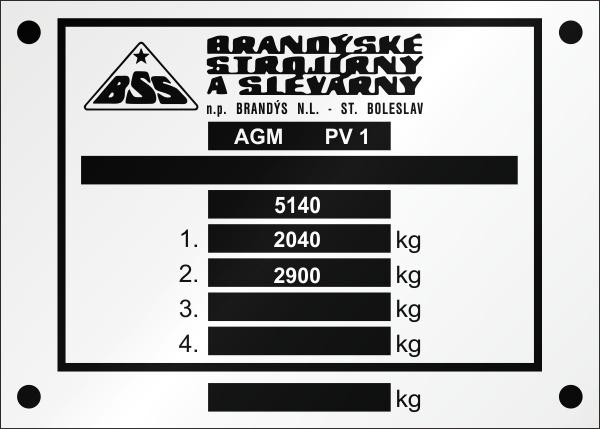 BSS výrobný štítok AGM