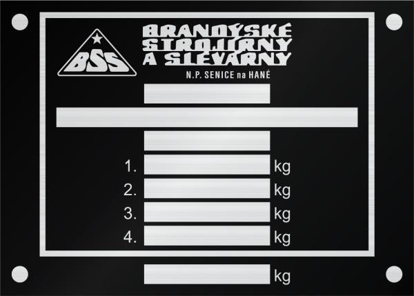 BSS výrobný štítok Bandýské strojírny a slévárny Senice na Hané