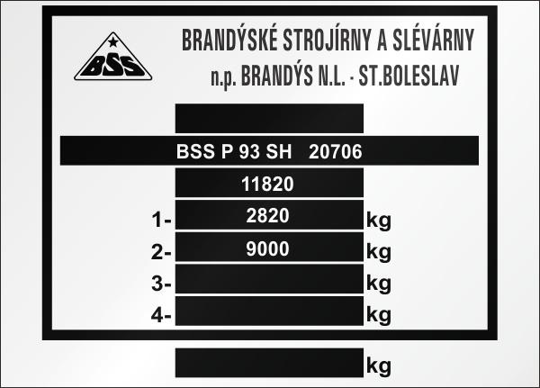 BSS výrobný štítok P 93 SH ST.Boleslav