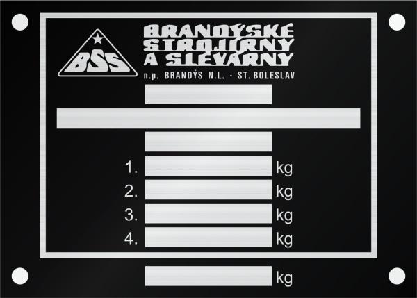 BSS výrobný štítok R.S a S. Boleslav