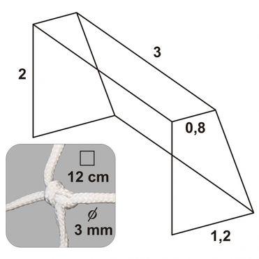 Futbalová sieť 3x2x0,8x1,2/12/ 3mm