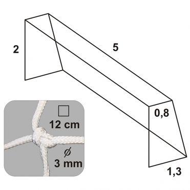 Futbalová sieť 5x2x0.8x1.3/12/3mm