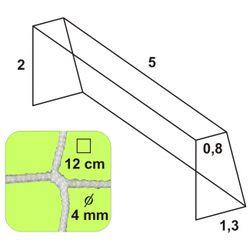 Futbalová sieť 5x2x0,8x1,3/12/4mm biela