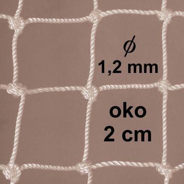 Sieť z 1,2 mm PA šnúry, oko 20mm, biela