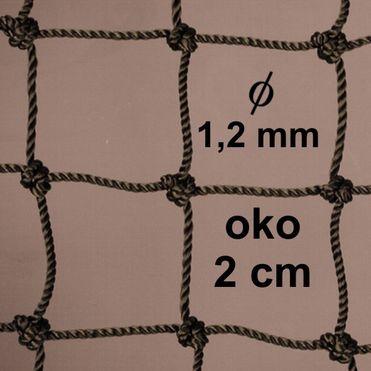 Sieť z 1,2 mm PA šnúry, oko 20mm, khaky