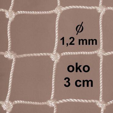 Sieť z 1,2 mm PA šnúry, oko 30mm, biela
