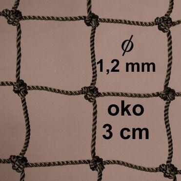 Sieť z 1,2 mm PA šnúry, oko 30mm, khaky