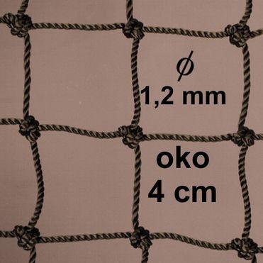 Sieť z 1,2 mm PA šnúry, oko 40mm, khaky