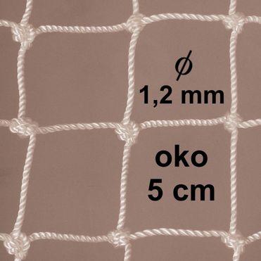 Sieť z 1,2 mm PA šnúry, oko 50mm, biela