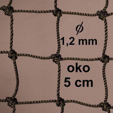Sieť z 1,2 mm PA šnúry, oko 50mm, khaky
