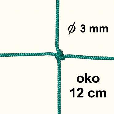 Sieť z 3mm šnúry, oko 12 cm, zelená farba