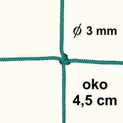 Sieť z 3mm šnúry, oko 4,5 cm, zelená farba