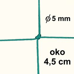 Sieť z 5mm šnúry, oko 4,5 cm, zelená farba
